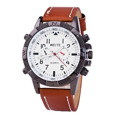 Fenkoo Quartz Armbanduhren fuer den Alltag Leder Band Schwarz Braun Mehrfarbig Marke