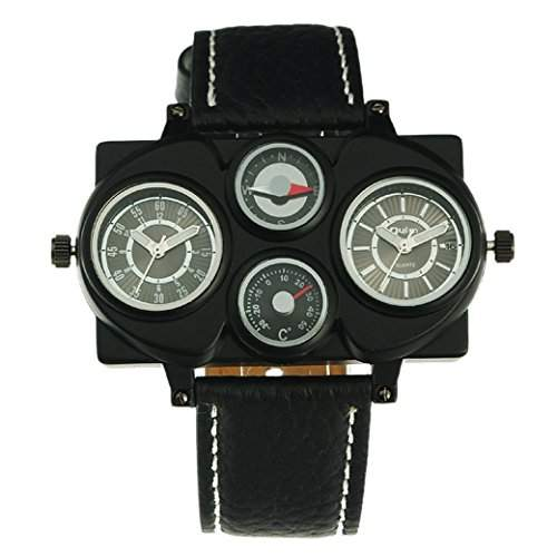 OULM 1168 Herren Armbanduhr Man Armband Uhr Militaer Multifunktions Uhren 2 Dials Sport Watch Quartzuhr PU Leder Armband - Schwarz Zifferblatt