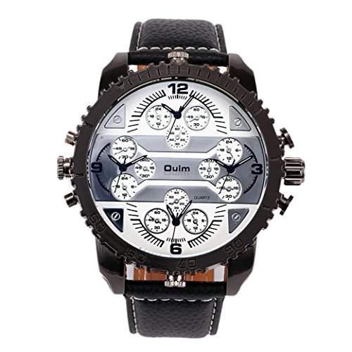 OULM 3233 Herren Armbanduhr Man Uhren Sport Watch mit vier Movt Runde Zifferblatt PU Leder Armband Quartzuhr - Weiss