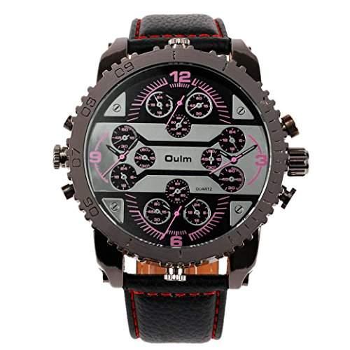 OULM 3233 Herren Armbanduhr Man Uhren Sport Watch mit vier Movt Runde Zifferblatt PU Leder Armband Quartzuhr - Rot