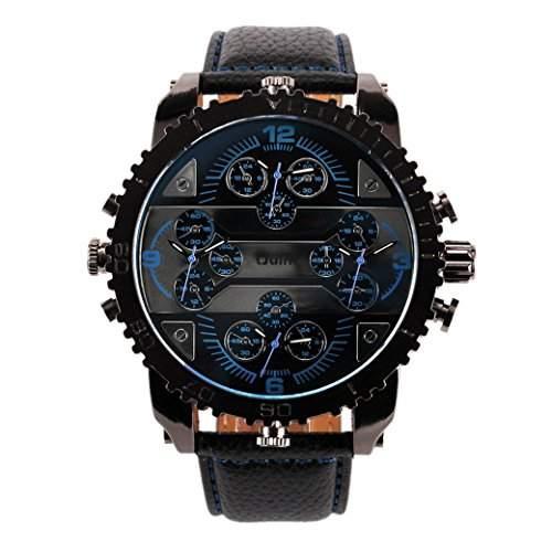 OULM 3233 Herren Armbanduhr Man Uhren Sport Watch mit vier Movt Runde Zifferblatt PU Leder Armband Quartzuhr - Blau