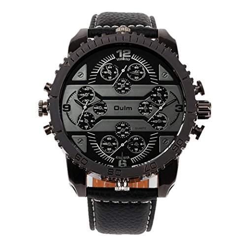 OULM 3233 Herren Armbanduhr Man Uhren Sport Watch mit vier Movt Runde Zifferblatt PU Leder Armband Quartzuhr - Schwarz