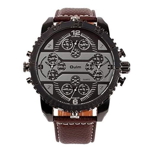 OULM 3233 Herren Armbanduhr Man Uhren Sport Watch mit vier Movt Runde Zifferblatt PU Leder Armband Quartzuhr - Braun