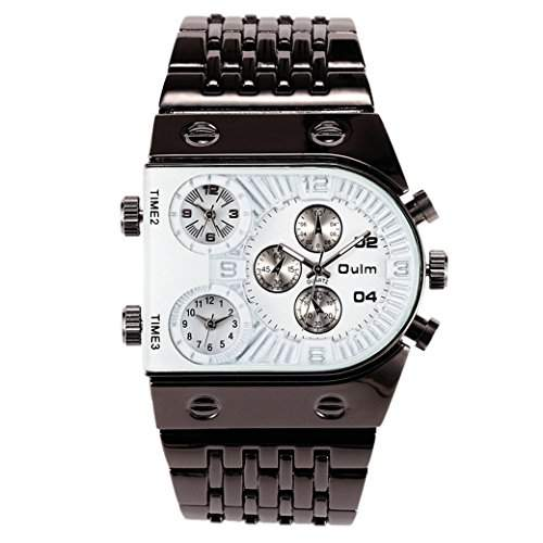 OULM Herren Armbanduhr Militaer Armband Uhren Armee Multizeitzonen 3 Zeiten Sport Watch Stahl Armband Quartzuhr - Weiss Zifferblatt