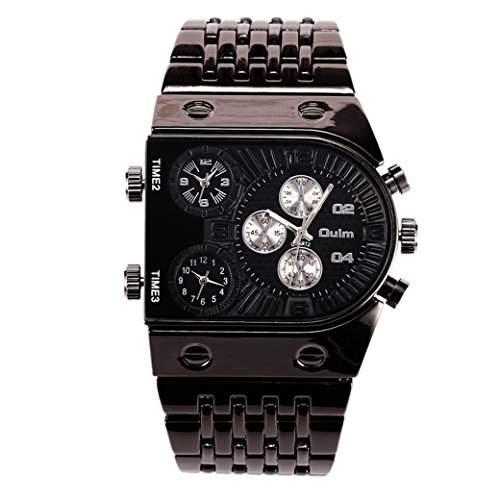 OULM Herren Armbanduhr Militaer Armband Uhren Armee Multizeitzonen 3 Zeiten Sport Watch Stahl Armband Quartzuhr - Schwarz Zifferblatt