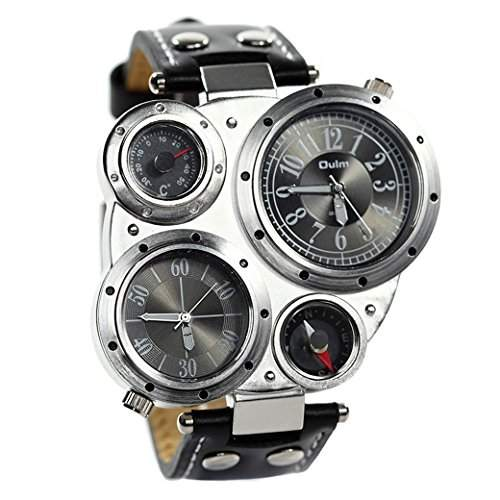 OULM Herren Armbanduhr Militaer Multifunktionen Armband Uhren 2 Dials Sport Watch Quartzuhr PU Leder Armband - Schwarz Zifferblatt