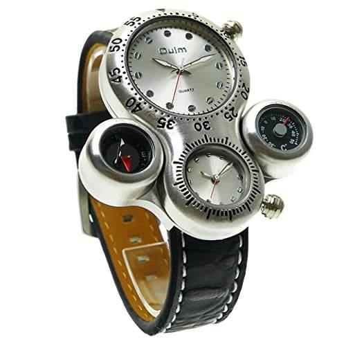 OULM Herren Armbanduhr 2 Zeitzonen Thermometer und Kompass nur fuer Anzeige Man Armband Uhren Sport Watch Quartzuhr PU Leder Armband - Schwarz Zifferblatt