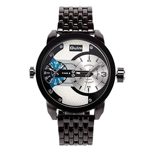 OULM Herren Armbanduhr grosse Zifferblatt Militaer Man Armband Uhren Sport Watch Vintage Design PU Leder Armband Quartzuhr