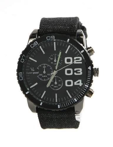 CHIC*MALL NEW V6 SUPER BIG DIAL New Luxury Sport Herren-Armbanduhr Vintage Fabric Band Clock schwarz