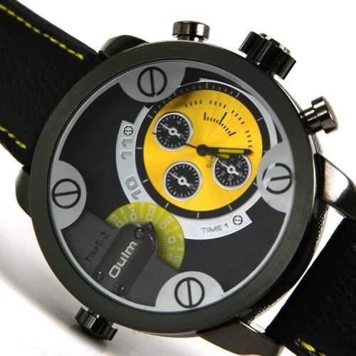 CHIC*MALL Oulm Herren Zwei Zifferblaetter Deep Blue -Armbanduhr gelb