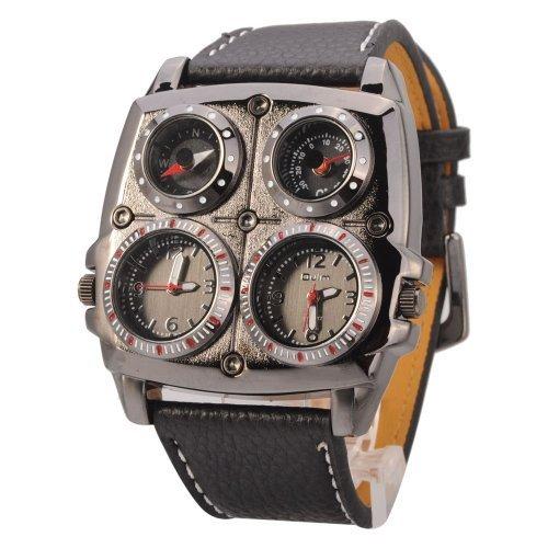 Oulm 1140 Adventure Mens Military Armbanduhr Quarz Lederband Kompass mit Thermometer Schwarz