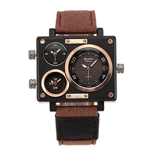 Oulm 3595 Herren Militaer Sport Multi Time Zone Leinwand Band Quarz watch brown