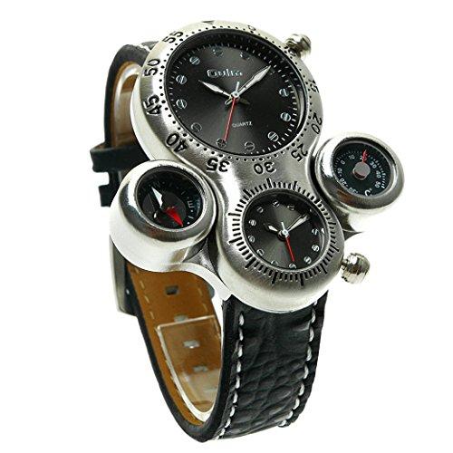 OULM 2 Zeitzonen Thermometer und Kompass nur fuer Anzeige Man Armband Uhren Sport Watch Quartzuhr PU Leder Armband Schwarz Zifferblatt