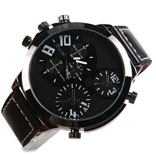 Oulm Herrenuhren grosse Zifferblatt Mode Quarz Schwarz Band Sport Armbanduhr schwarz