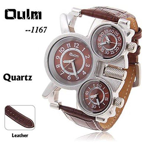Oulm Marke billige Adventure Multifunktions 3 movt weiss Zifferblatt schwarz Leder Uhr fuer Herren