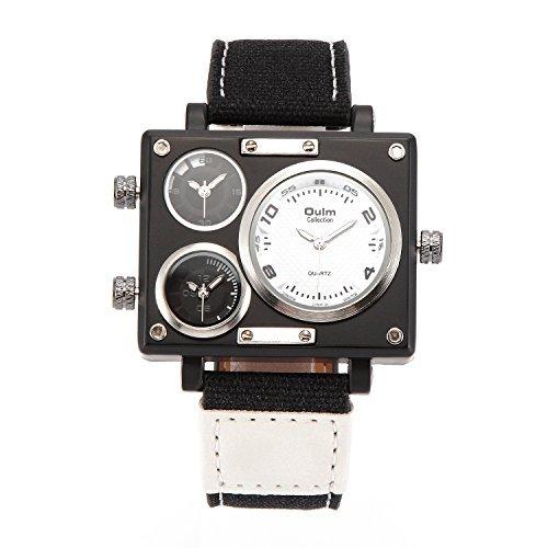 Coo Uhren 3595 Herren Militaer Sport Multi Time Zone Leinwand Band Quarz watch white