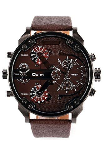 Vococal Oulm 3548 Armbanduhr mit vier Zeitzone Bewegung grosse Runde Zifferblatt PU Leder Watch Strap Outdoor Sport Maenner Uhren braun