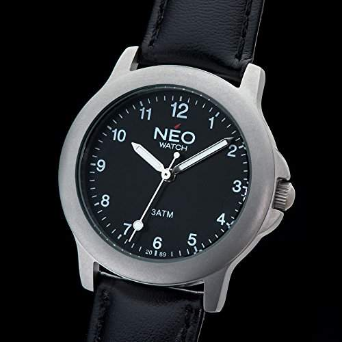 NEO watch PURE BLACK Damenuhr Armbanduhr Edelstahlgehaeuse Lederarmband Schwarz Analog Quarz N5-002