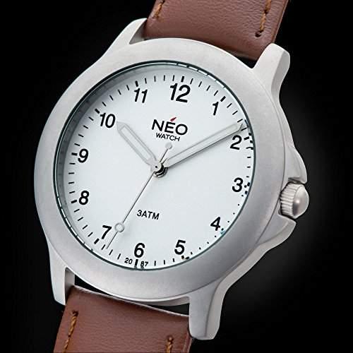 NEO watch PURE SILVER Herrenuhr Armbanduhr Edelstahlgehaeuse Lederarmband Silber Analog Quarz N5-004