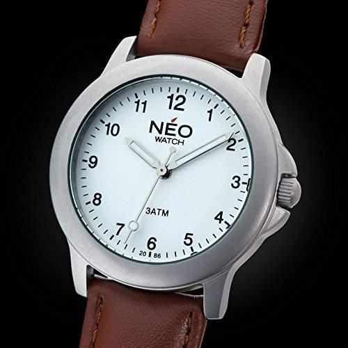 NEO watch PURE SILVER Damenuhr Armbanduhr Edelstahlgehaeuse Lederarmband Silber Analog Quarz N5-005