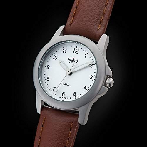 NEO watch PURE SILVER Damenuhr Armbanduhr Edelstahlgehaeuse Lederarmband Silber Analog Quarz N5-006