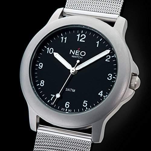 NEO watch PURE BLACK Herrenuhr Armbanduhr Datum Edelstahlgehaeuse Edelstahlarmband Schwarz Analog Quarz N5-007