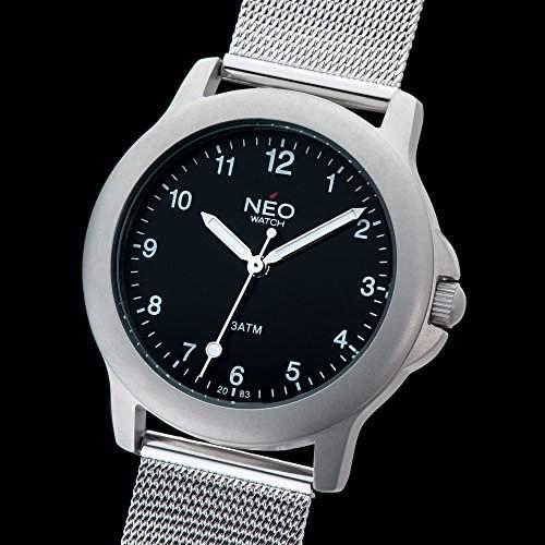 NEO watch PURE BLACK Damenuhr Armbanduhr Edelstahlgehaeuse Edelstahlarmband Schwarz Analog Quarz N5-008
