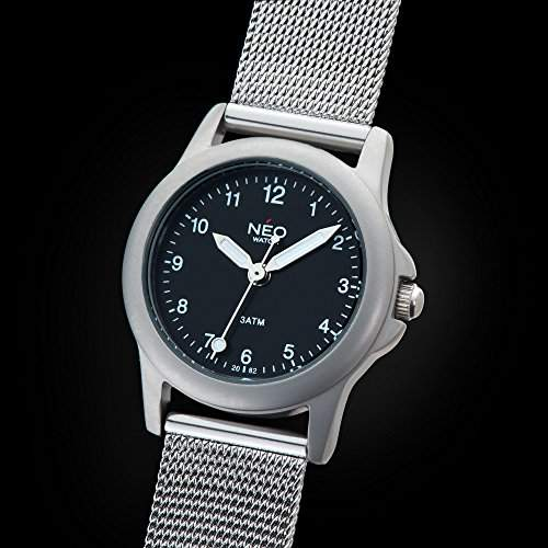NEO watch PURE BLACK Damenuhr Armbanduhr Edelstahlgehaeuse Edelstahlarmband Schwarz Analog Quarz N5-009
