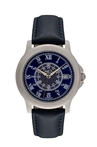 NEO watch BLUE ROMANCE Damenuhr Armbanduhr Datum Edelstahlgehaeuse Lederarmband Blau Analog Quarz N5-014