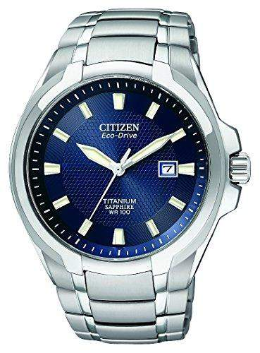 Citizen Mens Titanium Eco-Drive Blue Dial Bracelet Watch - BM7170-53L