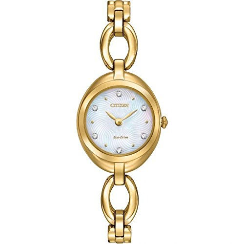 Citizen Armbanduhr Silhouette Crystal Damen Solar Powered Uhr mit Perlmutt Zifferblatt Analog Anzeige und Gold Edelstahl Armband Glossy ex1432 51D