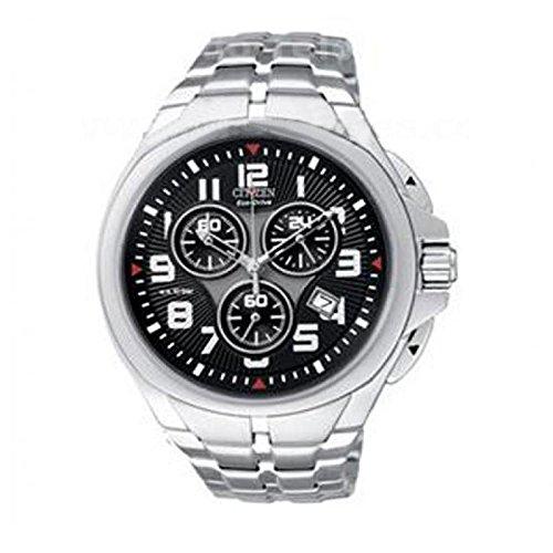 Uhr Citizen of Chronograph at0440 52 G Solar Edelstahl Quandrante schwarz Armband Stahl