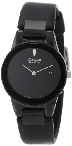 Citizen Womens GA1055 06E Eco Drive Axiom Stainless Steel and Black Leather Watch