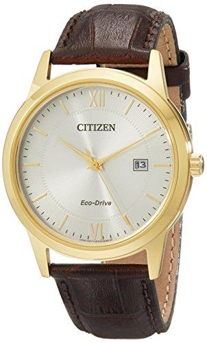 Citizen Herren aw1232 04 A Citizen Eco Drive goldfarbene Uhr mit Braun Leder Band