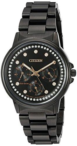 Damen Citizen Citizen Eco Drive Silhouette Kristall Chronograph Black Watch FD2047 58E