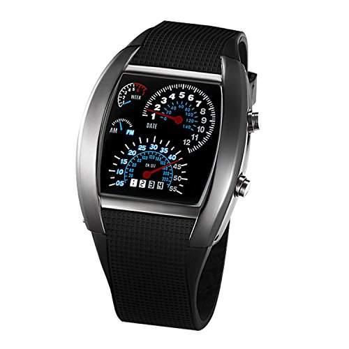 SODIALR Auto Meter Zifferblatt geschlechtsneutral Blau Blitz Punkt Matrix LED Lauffuhr Armbanduhr