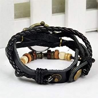 SODIALR Vintage Retro Dame Frauen um Quarz Lederband Armband Armbanduhr wickeln - Schwarz