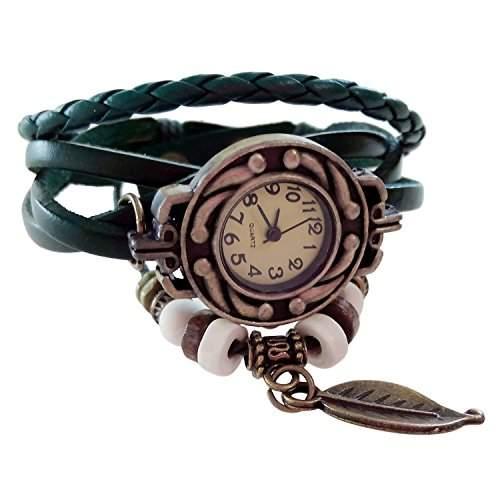 SODIALR Vintage Retro Dame Frauen um Quarz Lederband Armband Armbanduhr wickeln --gruen