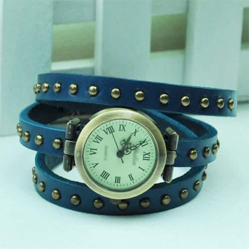 SODIALR Fashion Niet Weave Wrap Around Leder Retro-Armband-Frauen Armbanduhr - blau