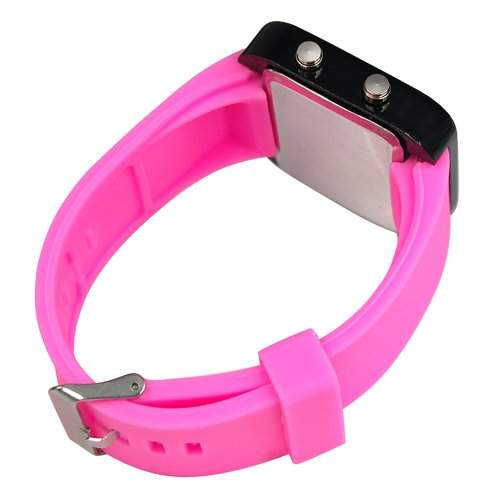 SODIAL R Neu Fashion Digitale Silikon Sport LED-Uhr -- Rose Rot