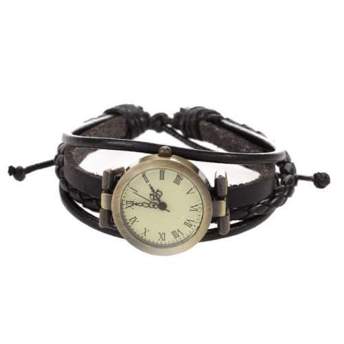 SODIAL R Armbanduhr Quarz PU-Leder Armbanduhr Retro Mode Weibliches Geschenk - Schwarz