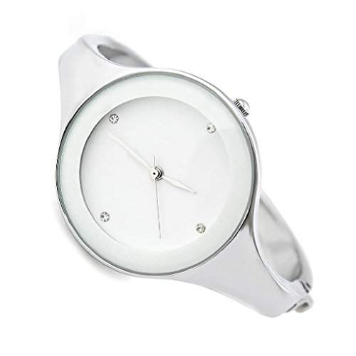 SODIALR Mode Frauen Silber Armband Quarz Armbanduhr