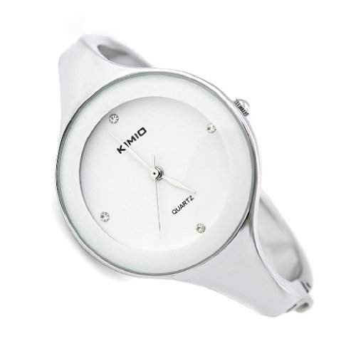 Mode Frauen Silber Armband Quarz Armbanduhr