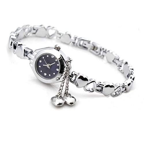 Fashion Frauen Silber Quarz Herz Charme Verbindungs Ketten Armband Armbanduhr