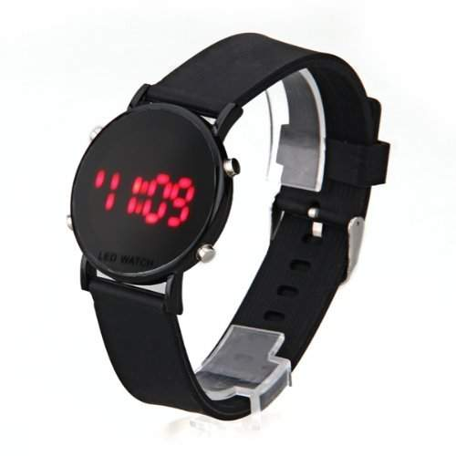 SODIALR Silikon LED Armbanduhr Damenuhr Herrenuhr Sport Armband Uhr schwarzes Uhrband