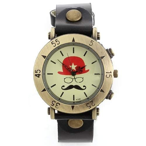 SODIALR Uhr Armbanduhr Quarzuhren Quarz Watch Damenuhr Herrenuhr Unisex Hut Bart Schwarz