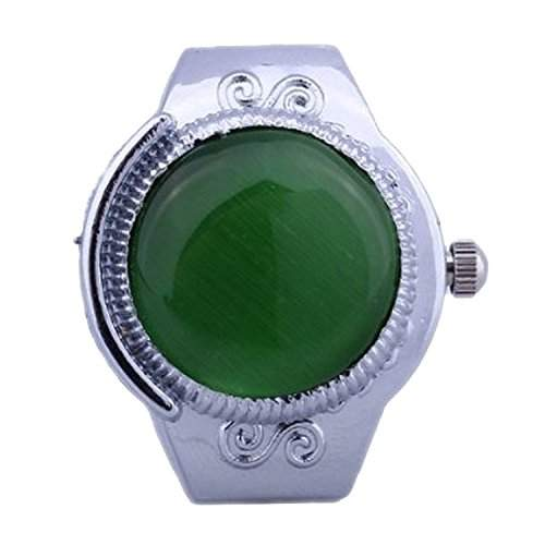 SODIALR TOP Damen Quarzuhr Ringuhr Ring Uhr Fingeruhr Uhrenring gruen Opal Neu