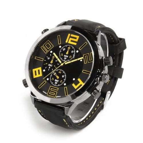 SODIALR Armbanduhr Silikon Armband Uhr Quarz Herrenuhr schwarz+gelb Quarzuhr