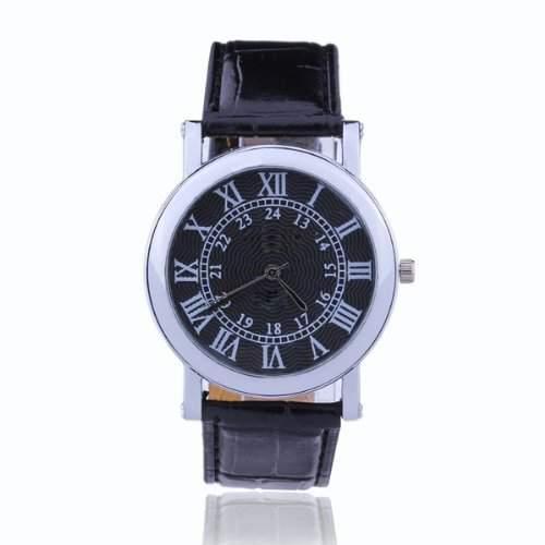 SODIALR Armbanduhr Herren Uhr Quarzuhr Herrenuhr Kunstleder Roemischer Stil Watch Schwarz