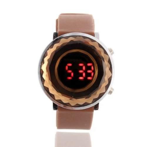 SODIALR LED Digital Uhr Damen Uhr Herrenuhr Armbanduhr Sportuhr Unisex Silikon Braun HOT